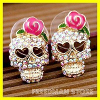 Betsey Johnson skull skeleton rainbow rhinestone pink rose GP stud earrings E89