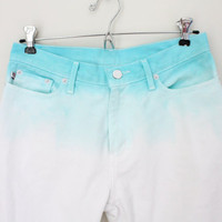 Polo Ralph Lauren Dip Dyed Turquoise White Jeans