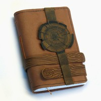 Brown Leather Journal  Handmade Blank Book  Wood by artreasury