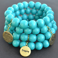 Turquoise Wood Beaded Stack Bracelets- Set of 4