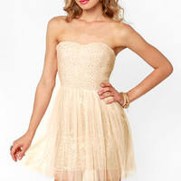 Flower Boucle Strapless Blush Sequin Dress