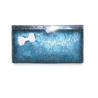 Womens Faux Leather Ocean Blue Nautical Accordion Style Wallet Billfold with Anchor Zipper Charm