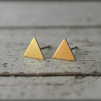 Smooth Triangle Earring Studs in Raw Brass, Surgical Steel Posts - Medium Size