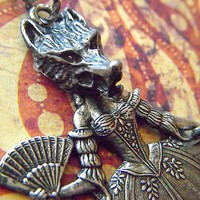 Necklace Gothic Victorian Wolf Girl With Pig by CosmicFirefly