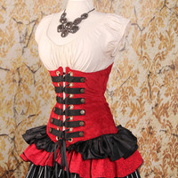 Waist 26 to 28 Red and Black Steampunk Underbust Corset