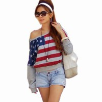 Amazon.com: NI9NE Brand American Flag/dreamy Top Item #6029: Clothing