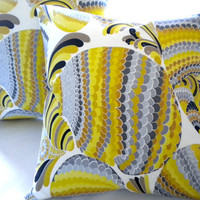 Yellow Trina Turk Driftwood Grey  Accent Pillow cover 16 x 16