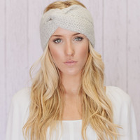 Knitted Turband Headband Twist Mohair Ear Warmer Platinum Grey (HBK2-04)