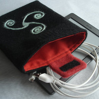 Case for Kindle, e-reader, Black and Red Recycled 100% Wool Sweater with a Needle Felted Trinity Spiral Design