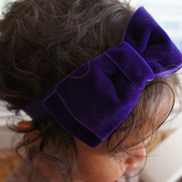 Large Dark Purple Velvet Hair Bow Headband, Baby Girl Hair Bow Headband, Women Hair Bow, Girls Hair Bow Headband, Hair Bow Hair Clip