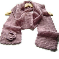 Crochet Scarf, Mohair Scarf, Long Scarf, Fall / Winter Accessory, 3D Crochet Flower, Dust Pink
