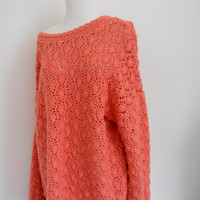 Tangerine Crochet Oversized Sweater