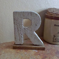 Rustic Med 7&quot; Cement Letter R with Stained Barnwood Base