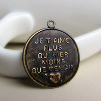 Antiqued Dark Brown French Round Charm Brass