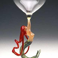 Mermaid Ascending Redhead Goblet by Milon Townsend: Art Glass Goblet - Artful Home
