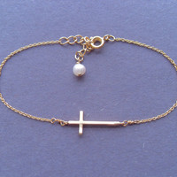 Cute Dainty, Sideway Cross, Gold Plated, Bracelet