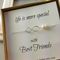 Infinity Bracelet, Best Friend Gift, Infinity Pearl Bracelet, Sterling Silver Infinity, Birthday Gift, Chrsitmas Gift, Bridesmaid Gift