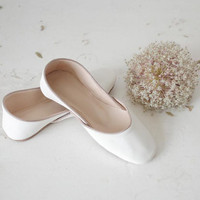 Soft Leather Ballet Flats White Lilies all sizes by thewhiteribbon
