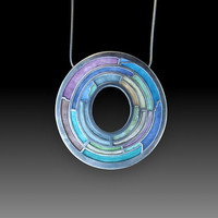 Labyrinth Pendant by Carly Wright: Silver  Enamel Necklace - Artful Home