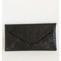 Black Snake Skin Design Envelope Clutch