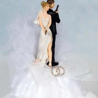 Super Sexy Spy Rhinestone Wedding Rings Cake Topper - Wedding Collectibles