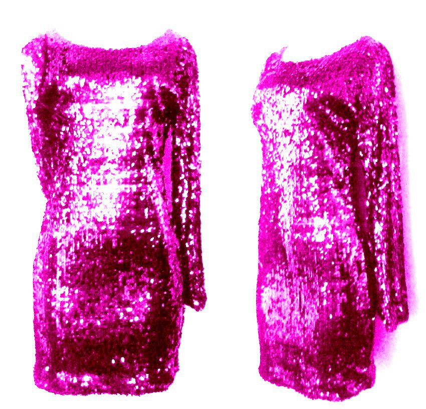 Fuschia Pink Sequin Long Sleeve Sparkle Party Dress