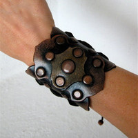 Leather Cuff Black Copper Studs Spanish Style by karenkell