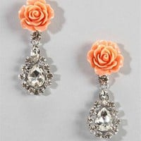 Pink Flower And Teardrop Earrings