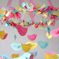 Bird Mobile - Pink, Yellow, Aqua Fo.. on Luulla