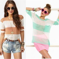 New Womens European Fashion Crew Neck Striped Pocket Knit Sweaters 2 Colors B538