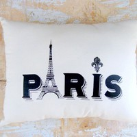 Paris Pillow, Eiffel Tower, French .. on Luulla