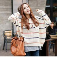 D846 Womens Fashion Bulky Striped Dumpy Baggy Knitted Jumper 8/10