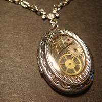 Steampunk Sprocket and Gear Locket Necklace - Antique Silver (619)