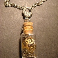 Steampunk Necklace- Gears and Watch Parts in a Glass Vial Jar (622)