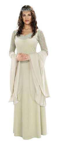 Deluxe Arwen Dress &amp; Tiara - Authentic Lord of the Rings Costumes