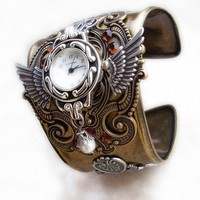 Steampunk Cuff Watch  Brass and Silver by Aranwen on Etsy