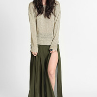 Out of Bounds Slit Pleated Maxi Skirt - $38.00: ThreadSence, Women&#x27;s Indie &amp; Bohemian Clothing, Dresses, &amp; Accessories