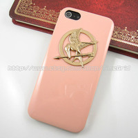 Pink iphone 5 case,The Hunger Games Mockingjay Logo Coral iphone 5 case,Golden hard cover skin case for iphone 5 case
