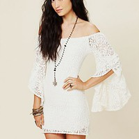 Free People French Bardot Lace Tunic