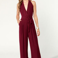 Along for the Stride Backless Burgundy Jumpsuit