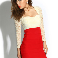 Sweatheart Lace Spliced Fitted Dress
