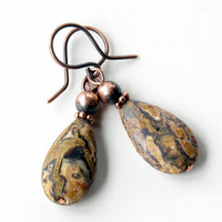 Stone dangle earrings leopard jasper teardrops copper drop earrings