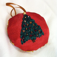 Embroidered Christmas Ornament  Silk Ribbon by BeanTownEmbroidery