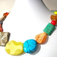 Colorful chunky gemstone necklace, statement necklace