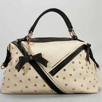 Ivory And Black Rhinestone Handbag