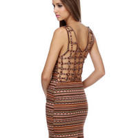 Souk Spices Brown Print Dress  