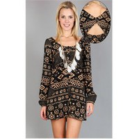 Long Sleeve Buttoned Tribal