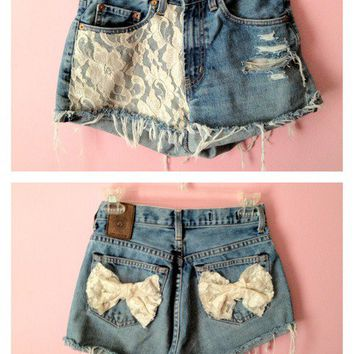 Lace High Waisted Shorts w/ bows <3  by PrincessPicks