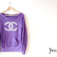 Women Crop Sweatshirt - Chanel LOGO Drawing