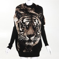 Tiger Print Oversized Sweater by CherryKreations21